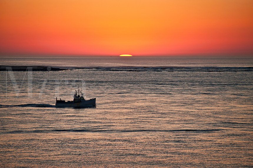 Fishing boat at sunrise, Chatham, Cape Cod, MA, Massachusetts, USA