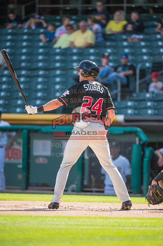 Drew Stubbs (24) of the Albuquerque Isotopes at bat against the Salt Lake Bees in Pacific Coast League action at Smith's Ballpark on June 8, 2015 in Salt Lake City, Utah.   The Bees defeated the Isotopes 10-7 in game one of a double-header.(Stephen Smith/Four Seam Images)