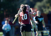 STANFORD, CA - November 4, 2011: Courtney Haldeman and Stephanie Byrne during the Stanford vs. Davidson in the second round of  the  NorPac Championship at the Varsity Turf on the Stanford campus Friday afternoon.<br /> <br /> Stanford defeated Davidson 7-2.