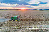63801-12512 Harvesting corn in fall at sunset-aerial  Marion Co. IL