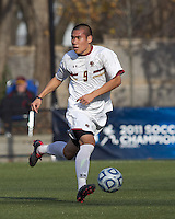 Boston College midfielder/defender Patrick Chin (9) brings the ball forward.  Rutgers University defeated Boston College in penalty kicks after two overtime periods in NCAA Division I tournament action, at Newton Campus Field, November 20, 2011.