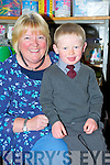 Anthony Diggin pictured with his teacher and principal Evelyn O'Shea during his first day at Curraheen National School, Glenbeigh on Thursday.........