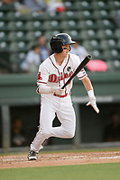Shortstop Grant Williams (4) of the Greenville Drive bats in a game against the Hickory Crawdads on Wednesday, May 15, 2019, at Fluor Field at the West End in Greenville, South Carolina. Greenville won, 6-5. (Tom Priddy/Four Seam Images)