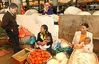 01-NOV-02: FOOD MARKET: XISHUANGBANNA, YUNNAN PROVINCE, CHINA<br /> The outdoor vegetable and meat market at Jinghong market, Yunnan. Jinghong is home to the Dai minority people.<br /> Photo by Richard Jones/sinopix<br /> &copy;sinopix