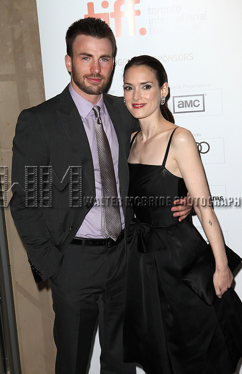Chris Evans & Winona Ryder attending the The 2012 Toronto International Film Festival.Red Carpet Arrivals for 'The Iceman' at the Princess of Wales Theatre in Toronto on 9/10/2012