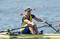 Brandenburg. GERMANY.<br /> SWE W1X. Anna Malvina SVENNUNG, at the start of her heat, 2016 European Rowing Championships at the Regattastrecke Beetzsee<br /> <br /> Friday  06/05/2016<br /> <br /> [Mandatory Credit; Peter SPURRIER/Intersport-images]