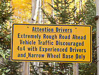 Sign at 4WD parking area near Crystal, Colorado