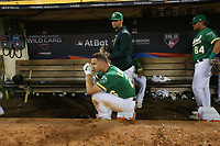 OAKLAND, CA - OCTOBER 02:  Matt Chapman #26 of the Oakland Athletics sits in the dugout after the American League Wild Card Game against the Tampa Bay Rays at RingCentral Coliseum on Wednesday, October 2, 2019 in Oakland, California. (Photo by Brad Mangin)