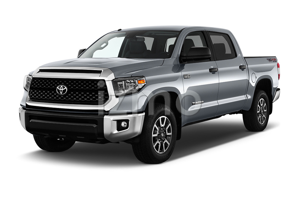 2018 Toyota Tundra SR5 5.7L Crew Max 4WD Short Bed 4 Door Pick Up angular front stock photos of front three quarter view