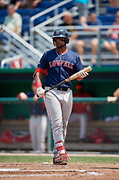 Lowell Spinners designated hitter Trey Ganns (28) at bat during a game against the Batavia Muckdogs on July 15, 2018 at Dwyer Stadium in Batavia, New York.  Lowell defeated Batavia 6-2.  (Mike Janes/Four Seam Images)