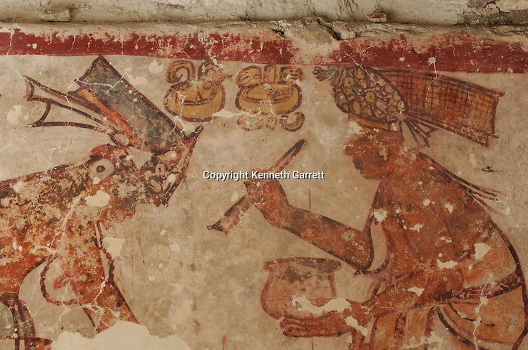 Maya Rise and Fall, Calakmul, Campeche, Mexico, Chocolate,  painting/murals from Classic period--500-600 AD, art