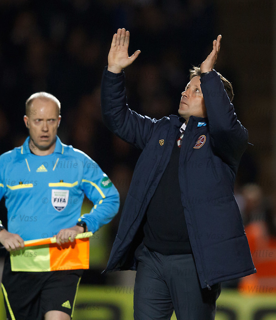 Paulo Sergio looks to the heavens and thanks god for the Hearts victory at the end