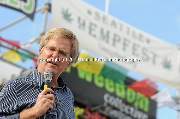 Seattle Hempfest - August 21-22, 2010 in Myrtle Edwards Park. Activist Rick Steves speaks to the crowd at Hempfest 2010. Photo by Seattle photographer Daniel Berman
