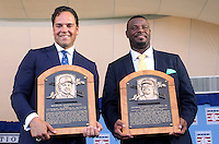 NEW YORK, NY - July 24:  Mike Piazza and Ken Griffey Jr. hold their plaques after their iinduction into the Baseball Hall of Fame on July 24, 2016 in Cooperstown, New York. Photo Credit:John Palmer/ Media Punch