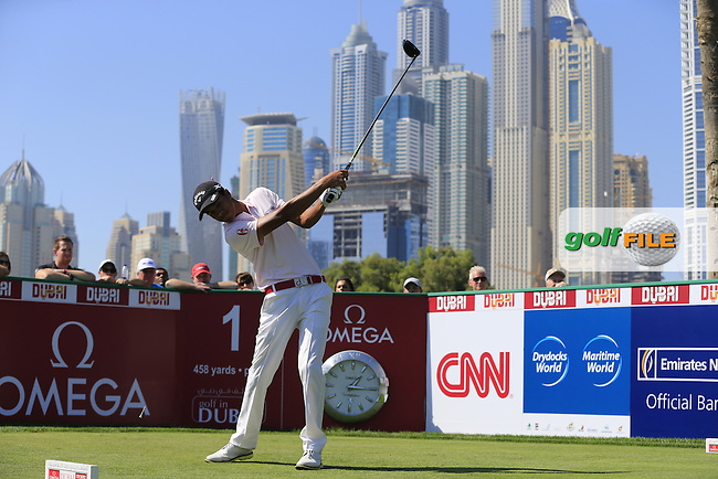 Ahmed MARJANE (MAR) tees off the 1st tee to start his game during Pink Friday's Round 2 of the 2015 Omega Dubai Desert Classic held at the Emirates Golf Club, Dubai, UAE.: Picture Eoin Clarke, www.golffile.ie: 1/30/2015