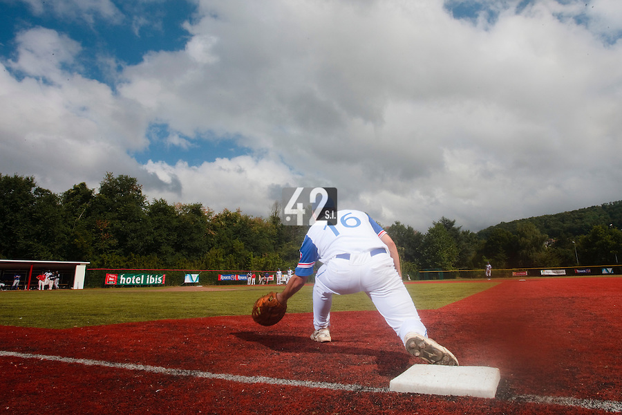14 July 2010: Florian Peyrichou of Team France is seen at first base during day 2 of the Open de Rouen, an international tournament with Team France, Team Saint Martin, Team All Star Elite, at Stade Pierre Rolland, in Rouen, France.