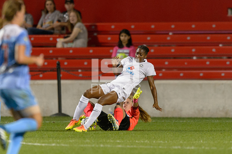 Chicago, IL - Wednesday Sept. 07, 2016: Tiffany McCarty, Alyssa Naeher during a regular season National Women's Soccer League (NWSL) match between the Chicago Red Stars and FC Kansas City at Toyota Park.