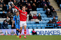Cauley Woodrow celebrates scoring Barnsley's second goal during Gillingham vs Barnsley, Sky Bet EFL League 1 Football at The Medway Priestfield Stadium on 9th February 2019