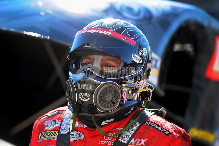 Oct. 30, 2011; Las Vegas, NV, USA: NHRA funny car driver Cruz Pedregon during the Big O Tires Nationals at The Strip at Las Vegas Motor Speedway. Mandatory Credit: Mark J. Rebilas-