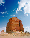 SAUDI ARABIA, Madain Salah, exterior of a Nabatean Tomb in the desert in Madain Salah
