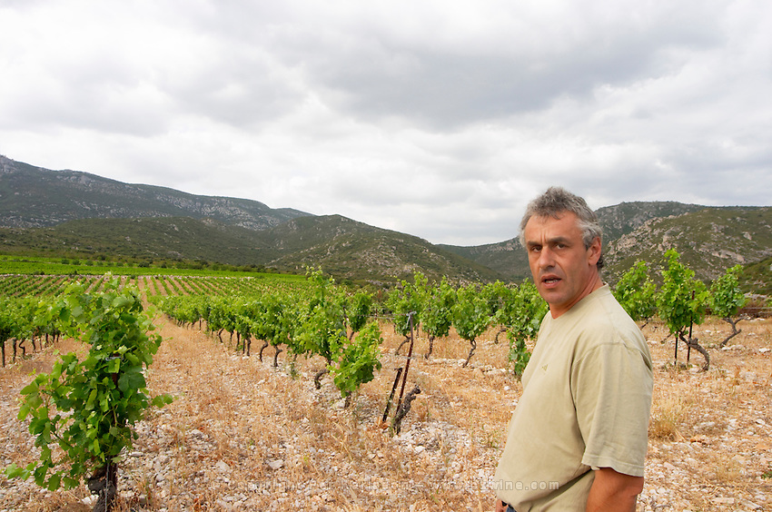 Alain Caujolle-Gazet Domaine des Grecaux in St Jean de Fos. Montpeyroux. Languedoc. Calcareous limestone plateau called rendzine. Owner winemaker. France. Europe. Vineyard. Calcareous limestone.