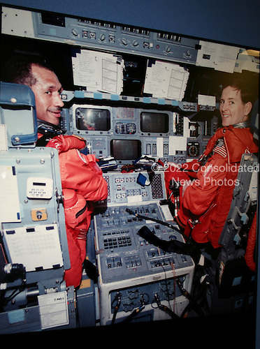 Houston, TX - (FILE) - Astronauts Charles F. Bolden Jr. (left) and Kenneth S. Reightler, commander and pilot, respectively, for the STS-60 mission, rehearse some of their duties on the flight deck of the crew compartment trainer in the Johnson Space Center's (JSC) Shuttle mockup and integration laboratory. Bolden currently is the Administrator of the National Aeronautics and Space Administration (NASA)..Credit: NASA via CNP.