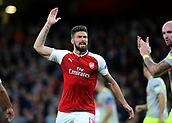 14th September 2017, Emirates Stadium, London, England; UEFA Europa League Group stage, Arsenal versus FC Cologne; Olivier Giroud of Arsenal appeals for a corner but Referee Javier Estrade gives a goal kick to FC Koln