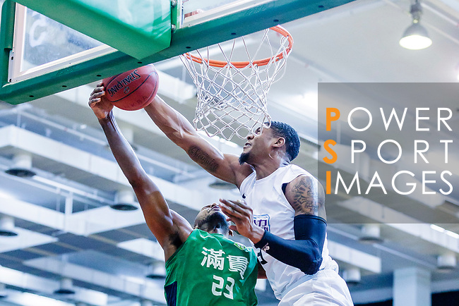 Eric Javarin Ferguson #3 of HKPA blocks against Austin Bryant M #23 of Tycoon Basketball Team during the Hong Kong Basketball League game between HKPA and Tycoon at Southorn Stadium on June 22, 2018 in Hong Kong. Photo by Yu Chun Christopher Wong / Power Sport Images