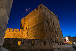 Phasael's Tower in the Tower of David or the Citadel in the Armenian Quarter of the Old City of Jerusalem at dusk.  The Old City of Jerusalem and its Walls is a UNESCO World Heritage Site