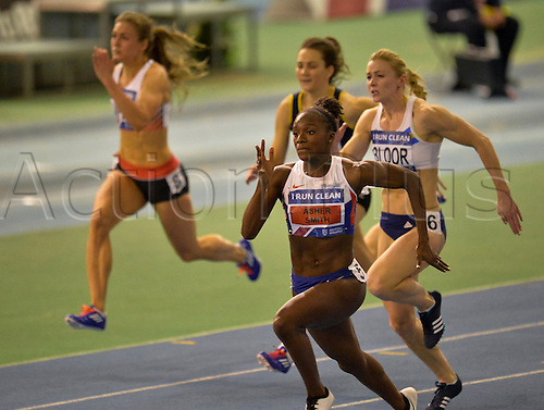 27.02.2016. EIS Sheffield, Sheffield, England. British Indoor Athletics Championships Day One. Dina Asher-Smith on her way to winning the 60m Final.