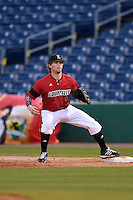 Louisville Cardinals first baseman Danny Rosenbaum (8) waits for a throw during a game against the USF Bulls on February 14, 2015 at Bright House Field in Clearwater, Florida.  Louisville defeated USF 7-3.  (Mike Janes/Four Seam Images)