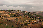 "Judea, Gush Etzion. A view of kibbutz Rosh Tzurim as seen from the ""Path of the Patriarchs"""