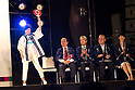 TOKYO, JAPAN - JULY 24: Tokyo Gov. Yuriko Koike greets public before her speech with the hosts and guests (sitting from Left to right) Toshiro Muto, Tsunekazu Takeda, Mitsunori Torihara, Tamayo Marukawa, during the Tokyo 2020 flag tour festival for the 2020 Games at Tokyo Metropolitan Plaza in Tokyo, July 24, 2017. Japan began its three-year countdown for the Tokyo 2020 Summer Olympics in Tokyo on Monday with image projection-mapping beamed on a building of Tokyo Metropolitan Government Office. The 2020 Games will be Japan's first summer Olympics since 1964. (Photo by Richard Atrero de Guzman/AFLO)