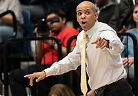 WASHINGTON, DC - FEBRUARY 22: Jamion Christian  coach of George Washington controls a play during a game between La Salle and George Washington at Charles E Smith Center on February 22, 2020 in Washington, DC.