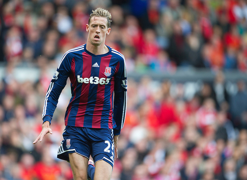 Stoke City's Peter Crouch ..Football - Barclays Premiership - Liverpool v Stoke City - Sunday 7th October 2012 - Anfield - Liverpool..