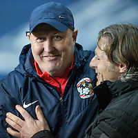 Coventry City Manager Russell Slade & Wycombe Wanderers Manager Gareth Ainsworth during the The Checkatrade Trophy - EFL Trophy Semi Final match between Coventry City and Wycombe Wanderers at the Ricoh Arena, Coventry, England on 7 February 2017. Photo by Andy Rowland.