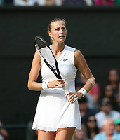 Petra Kvitova (CZE) during her match against  Johanna Konta (GBR) in their Ladies' Singles Fourth Round match<br /> <br /> Photographer Rob Newell/CameraSport<br /> <br /> Wimbledon Lawn Tennis Championships - Day 7 - Monday 8th July 2019 -  All England Lawn Tennis and Croquet Club - Wimbledon - London - England<br /> <br /> World Copyright © 2019 CameraSport. All rights reserved. 43 Linden Ave. Countesthorpe. Leicester. England. LE8 5PG - Tel: +44 (0) 116 277 4147 - admin@camerasport.com - www.camerasport.com