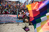 El Alto, Bolivia<br /> Saturday November 16, 2019.<br /> A few thousand citizens from the city of El Alto and the Altiplano region hold a meeting requesting the resignation of the new Bolivian President Jeanine Añez.  After the October 20 presidential elections and resignation of President Evo Morales, there is a lot of protests in many regions of Bolivia.  El Alto is one of the largest cities with a big population of Aymara people.