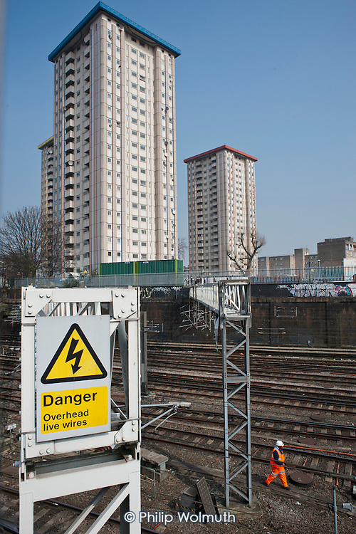 Gillfoot, one of three 21-storey skyscrapers that make up Camden Council's Ampthill Square estate in Camden Town, is threatened with demolition by proposed construction work on the HS2 London-Birmingham high speed railway development.