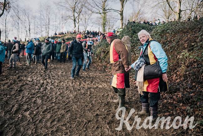 Belgian fans searching their way around the course (in the morning ahead of the races)<br /> <br /> U23 Men's Race<br /> UCI CX Worlds 2018<br /> Valkenburg - The Netherlands