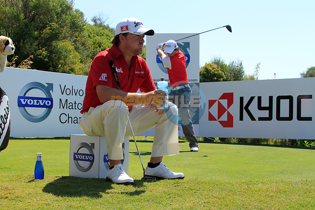 Graeme McDowell and Rory McIlroy (N.IRL) wait to tee off on the 15th tee during the morning session on Day 3 of the Volvo World Match Play Championship in Finca Cortesin, Casares, Spain, 21st May 2011. (Photo Eoin Clarke/Golffile 2011)