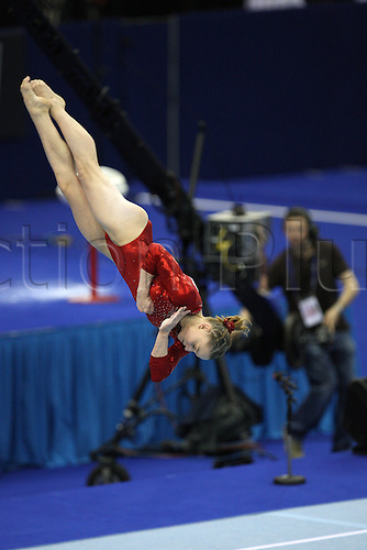 Anna Myzdrikova of Russia competes at the floor during the senior women apparatus final at the European Artistic Gymnastics Championship at National Indoor Arena in Birmingham, UK on May 2, 2010.