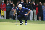 Lee Westwood (ENG) lines up his putt on the 1st green during the Final Day of the BMW PGA Championship Championship at, Wentworth Club, Surrey, England, 29th May 2011. (Photo Eoin Clarke/Golffile 2011)