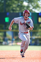 Matt Whatley (40) of the Spokane Indians runs the bases during a game against the Hillsboro Hops at Ron Tonkin Field on July 22, 2017 in Hillsboro, Oregon. Spokane defeated Hillsboro, 11-4. (Larry Goren/Four Seam Images)