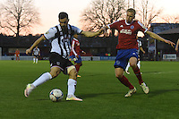 Pat Hoban of Grimsby Town shoots at goal during the Vanarama National League match between Aldershot Town and Grimsby Town at the EBB Stadium, Aldershot, England on 5 April 2016. Photo by Paul Paxford / PRiME Media Images.