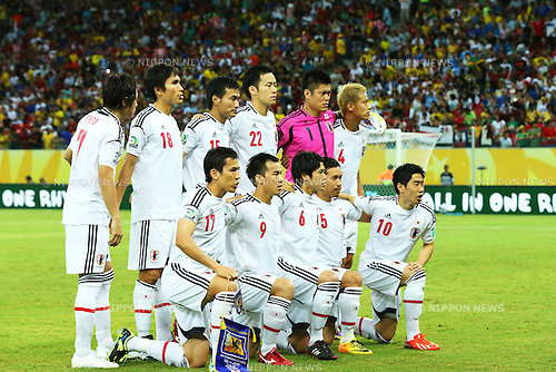 Japan team group line-up (JPN),<br /> JUNE 19, 2013 - Football / Soccer :<br /> FIFA Confederations Cup Brazil 2013 Group A match between Italy 4-3 Japan at Arena Pernambuco in Recife, Brazil. (Photo by Toshihiro Kitagawa/AFLO)