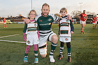 Mark Bright (Capt) of Ealing Trailfinders poses for a photograph with young mascots ahead of the Greene King IPA Championship match between Ealing Trailfinders and London Welsh RFC at Castle Bar , West Ealing , England  on 26 November 2016. Photo by David Horn / PRiME Media Images