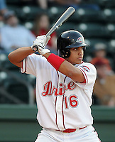April 24, 2008: Infielder Manny Arambarris (16) of the Greenville Drive, Class A affiliate of the Boston Red Sox, in a game against the Asheville Tourists at Fluor Field at the West End in Greenville, S.C. Photo by:  Tom Priddy/Four Seam Images