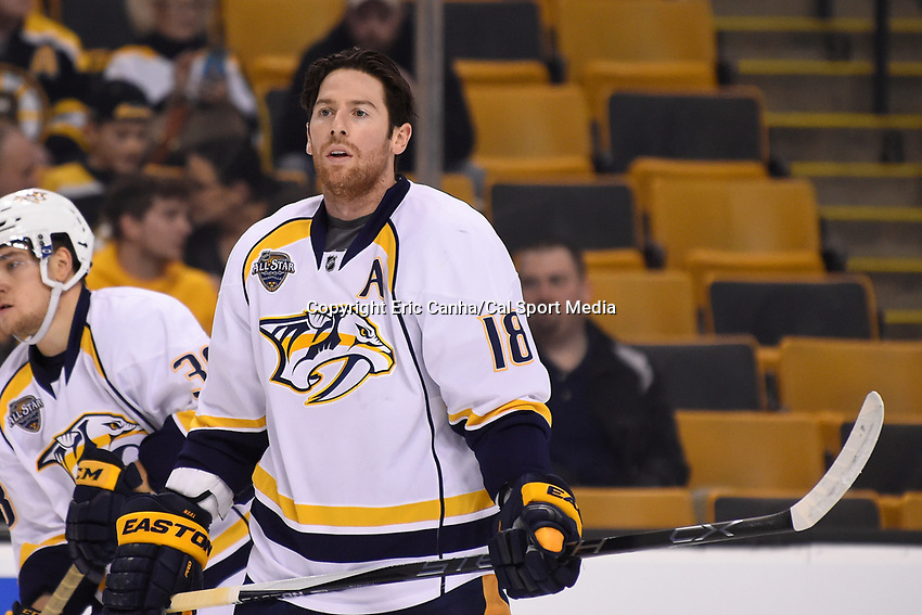 Monday, December 7, 2015: Nashville Predators left wing James Neal (18) warms up before the National Hockey League game between the Nashville Predators and the Boston Bruins held at TD Garden, in Boston, Massachusetts. The Predators defeat the Bruins 3-2 in regulation time. Eric Canha/CSM