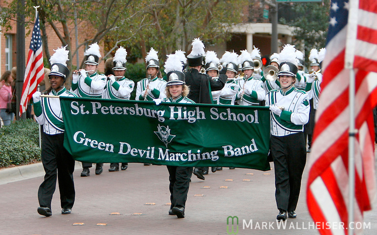 The St. Petersburg High School Green Devil Marching Band participated in the Inaugural Parade after the inauguration of Charlie Crist as the 44th Governor of the state of Florida on the east portico of the Old Capitol in Tallahassee, Florida January 2, 2007.    (Mark Wallheiser/TallahasseeStock.com)